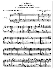 Одиннадцать пьес в религиозном стиле и транскрипция на тему из 'Мeссии' Генделя, Op.72: Сборник by Шарль Валантен Алькан