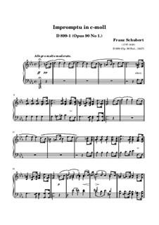Четыре экспромта для фортепиано, D.899 Op.90: Экспромт No.1 (ноты высокого качества) by Франц Шуберт