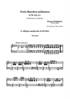 Три военных марша, для фортепиано в четыре руки, D.733 Op.51: Марш No.3 by Франц Шуберт