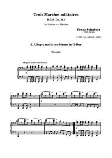 Три военных марша, для фортепиано в четыре руки, D.733 Op.51: Марш No.2 by Франц Шуберт