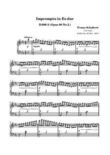 Четыре экспромта для фортепиано, D.899 Op.90: Экспромт No.2 (ноты высокого качества) by Франц Шуберт