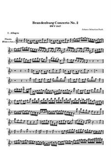 Бранденбургский концерт No.2 фа мажор, BWV 1047: Партия флейты by Иоганн Себастьян Бах