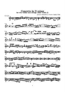 Двойной концерт для двух скрипок, струнных и бассо континуо ре минор, BWV 1043: Партия второй солирующей скрипки by Иоганн Себастьян Бах