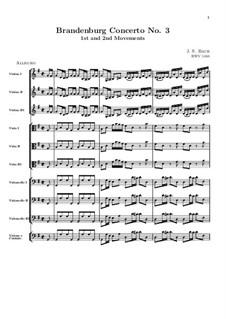 Бранденбургский концерт No.3 соль мажор, BWV 1048: Части I, II. Партитура by Иоганн Себастьян Бах