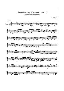 Бранденбургский концерт No.3 соль мажор, BWV 1048: Части I, II – партия третьей скрипки by Иоганн Себастьян Бах