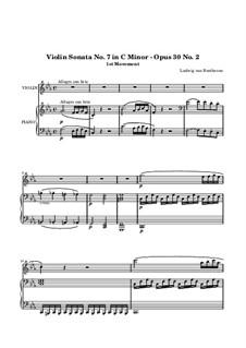 Соната для скрипки и фортепиано No.7, Op.30 No.2: Часть I by Людвиг ван Бетховен