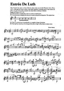 Entrée de luth (for Guitar): Entrée de luth (for Guitar) by Robert Ballard