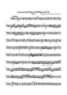 Концерт для валторны с оркестром No.1 ре мажор, K.412: Партия виолончели и контрабаса by Вольфганг Амадей Моцарт
