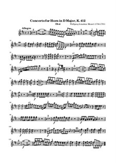 Концерт для валторны с оркестром No.1 ре мажор, K.412: Партия гобоя by Вольфганг Амадей Моцарт