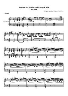 Соната для скрипки и фортепиано No.27 соль мажор, K.379: Партия фортепиано by Вольфганг Амадей Моцарт