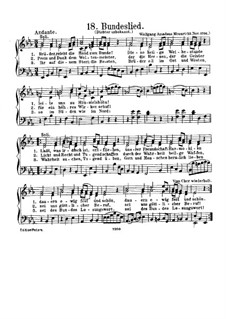 Bundeslied, K.623: Klavierauszug mit Singstimmen by Вольфганг Амадей Моцарт