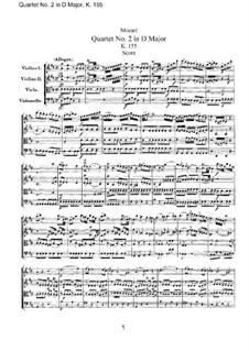Струнный квартет No.2 ре мажор, K.155: Партитура by Вольфганг Амадей Моцарт