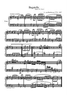 Одиннадцать новых багателей для фортепиано, Op.119: Багатель No.4 by Людвиг ван Бетховен
