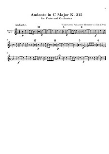 Анданте для флейты с оркестром до мажор, K.315: Партия первой валторны in C by Вольфганг Амадей Моцарт