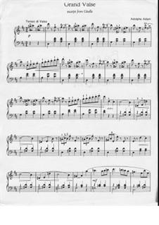 Жизель: Акт I, Большой вальс, для фортепиано by Адольф Адам