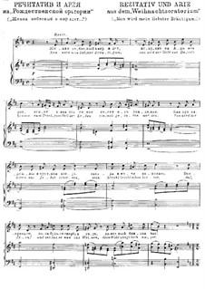 Рождественская оратория, BWV 248: Жених небесный, для голоса и фотрепиано by Иоганн Себастьян Бах