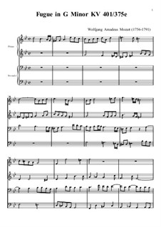 Фуга для органа соль минор, K.401: Версия для фортепиано в 4 руки by Вольфганг Амадей Моцарт