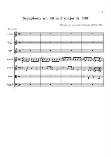 Симфония No.18 фа мажор, K.130: Партитура by Вольфганг Амадей Моцарт