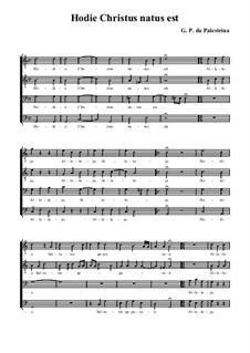 Hodie Christus natus est: Для смешанного хора by Джованни да Палестрина