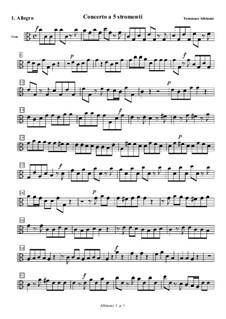 Концерт для струнных до мажор: Часть I (Аллегро) – партия альта by Томазо Альбинони