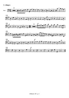 Концерт для струнных до мажор: Часть III (Аллегро) – партия бассо континуо by Томазо Альбинони
