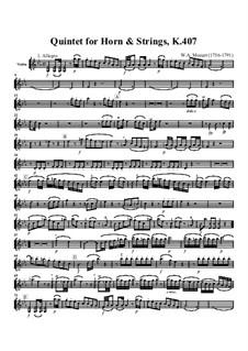 Квинтет для валторны и струнных ми-бемоль мажор, K.407: Партия скрипки by Вольфганг Амадей Моцарт