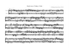 Дуэт для скрипки и альта No.1 соль мажор, K.423: Партитура by Вольфганг Амадей Моцарт