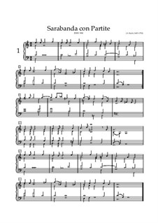 Сарабанда и партита на темы из оперы 'Беллерофон' Ж. Люлли, BWV 990: Для клавишного инструмента (ноты высокого качества) by Иоганн Себастьян Бах