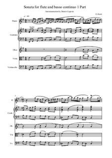 Соната для флейты и бассо континуо No.2 ми минор, BWV 1034: Часть I. Переложение для флейты, клавесина, гобоя, альта и виолончели by Иоганн Себастьян Бах