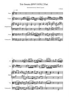 Соната для двух флейт и бассо континуо соль мажор, BWV 1039: Часть II. Переложение для флейты, клавесина и струнных by Иоганн Себастьян Бах