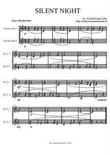 Тихая ночь, дивная ночь, для двух инструментов: For easy clarinet duo by Франц Ксавьер Грубер