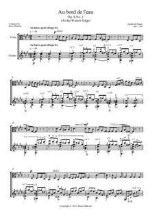 Три песни, Op.8: No.1 Au bord de l'eau (At the Water's Edge) for viola and guitar by Габриэль Форе