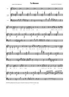 Ta Maman for alto, cello, guitar: Ta Maman for alto, cello, guitar by Дэвид Соломонс
