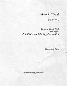 Six Flute Concertos for Flute, Strings and Cembalo, Op.10: Concerto No.2 'Night' – full score, parts, RV 439 by Антонио Вивальди
