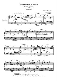 Four inventions to three voices for piano, CS019 No.1, 2, 3, 4: Four inventions to three voices for piano by Santino Cara