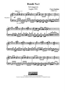 Rondò No.1 in G major for piano, CS025 No.1: Rondò No.1 in G major for piano by Santino Cara