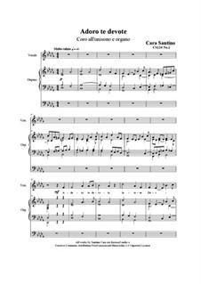 Adoro te devote. Unison chorus and organ, CS124 No.1: Adoro te devote. Unison chorus and organ by Santino Cara