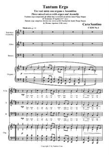 Tantum Ergo. SAB - Assembly and organ, CS201 No.1: Tantum Ergo. SAB - Assembly and organ by Santino Cara