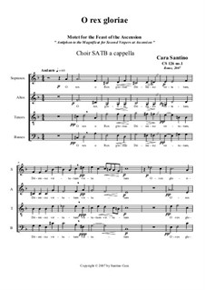 O rex gloriae. Motet for SATB a cappella, CS126 No.1: O rex gloriae. Motet for SATB a cappella by Santino Cara