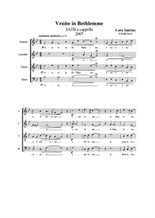 Venite in Bethlemme. SATB a cappella, CS128 No.5: Venite in Bethlemme. SATB a cappella by Santino Cara