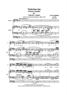 21 Opera Arias and Sacred Arias for Soprano: Nativitas tua. Soprano and organ, CS143 by Santino Cara