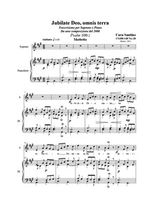 Jubilate Deo, omnis terra (Psalm 100:2). Soprano and piano, CS188-148 No.1B: Jubilate Deo, omnis terra (Psalm 100:2). Soprano and piano by Santino Cara