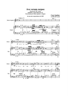 Ave verum corpus_mezzosoprano and organ, CS190-158 No.2B: Ave verum corpus_mezzosoprano and organ by Santino Cara