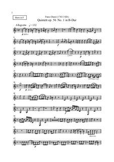 Девять квинтетов для духовых инструментов, Op.56, 67, 68: Партия валторны by Франц Игнац Данци