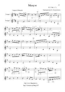 No.36 Менуэт ре минор, BWV Anh.132: Для двух гитар by Иоганн Себастьян Бах