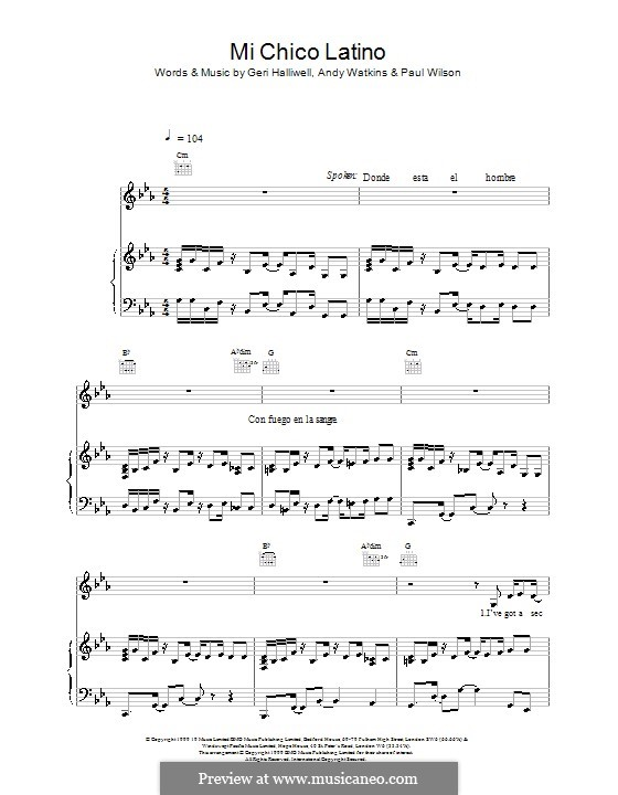 Mi Chico Latino: Для голоса и фортепиано (или гитары) by Andy Watkins, Geri Halliwell, Paul Wilson