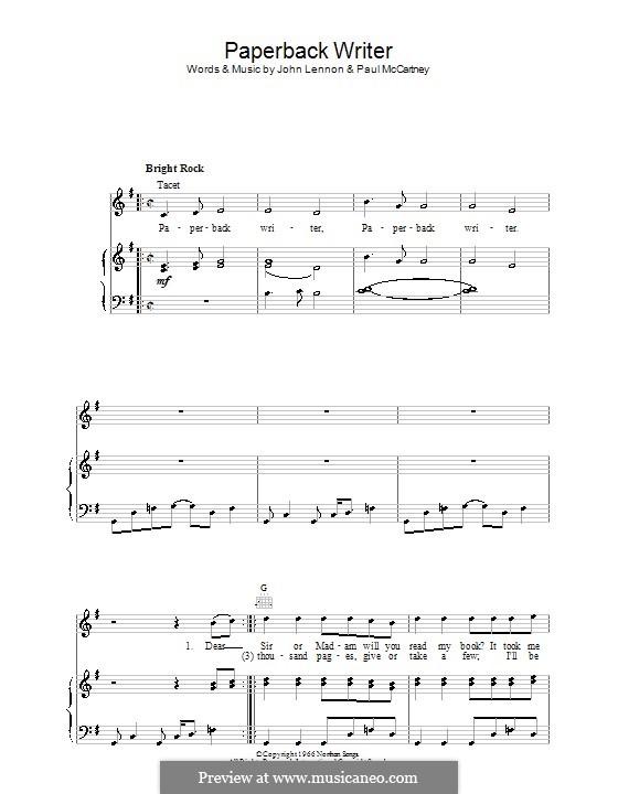 Paperback Writer (The Beatles): Для голоса и фортепиано (или гитары) by John Lennon, Paul McCartney