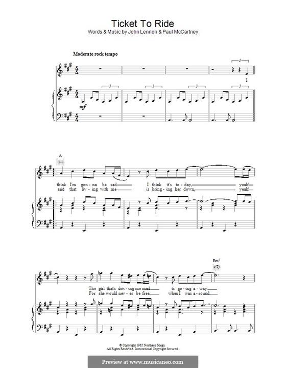 Ticket to Ride (The Beatles): Для голоса и фортепиано или гитары by John Lennon, Paul McCartney