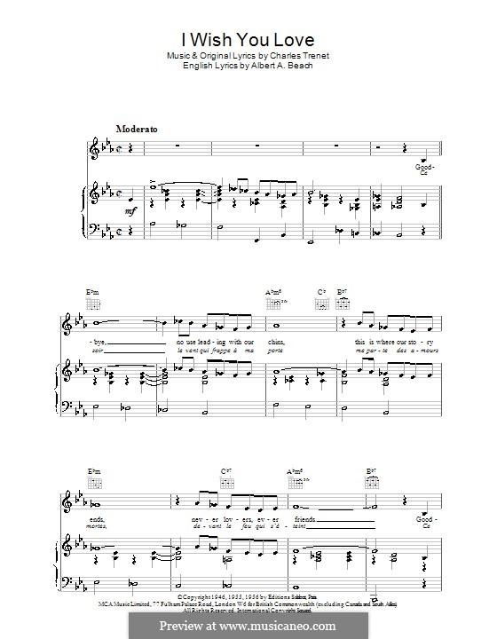 I Wish You Love: Для голоса и фортепиано (или гитары) by Charles Trenet