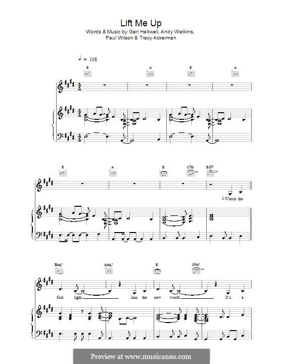 Lift Me Up: Для голоса и фортепиано (или гитары) by Andy Watkins, Geri Halliwell, Paul Wilson, Tracy Ackerman